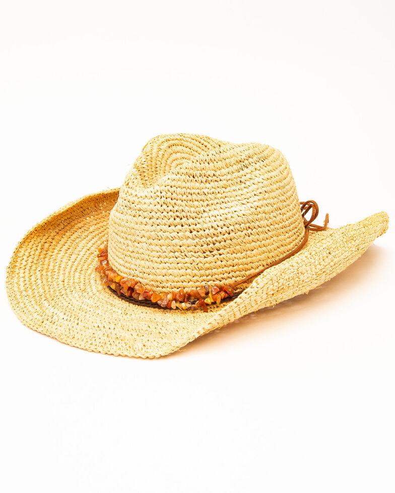 San Diego Hat Co. Women's Crochet Raffia Two Strand Bead Hat, Natural, hi-res