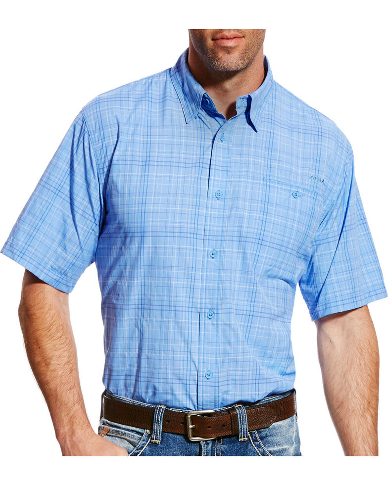 Ariat Men's Blue Plaid VentTEK II Short Sleeve Western Shirt , Light Purple, hi-res