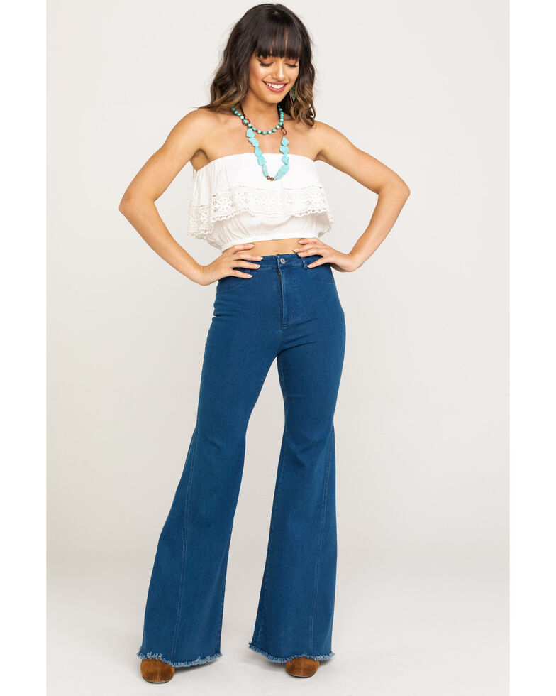 Flying Tomato Women's High Rise Distressed Flare Jeans, Blue, hi-res
