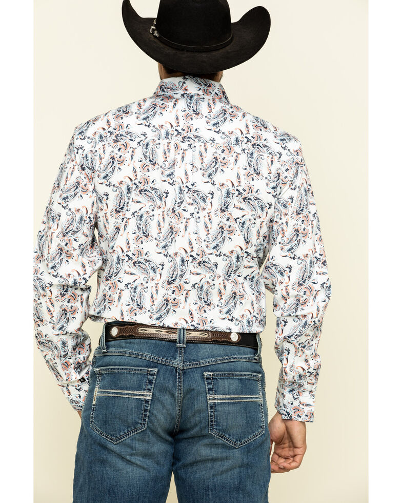 Cody James Core Men's Rodeo Drive Large Paisley Print Long Sleeve Western Shirt , White, hi-res