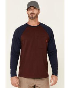 Hawx Men's Dark Red Original Baseball Crew Long Sleeve Work T-Shirt - Tall , Dark Red, hi-res