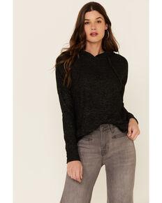 Angie Women's Brushed Hacci Hooded Sweatshirt , Charcoal, hi-res