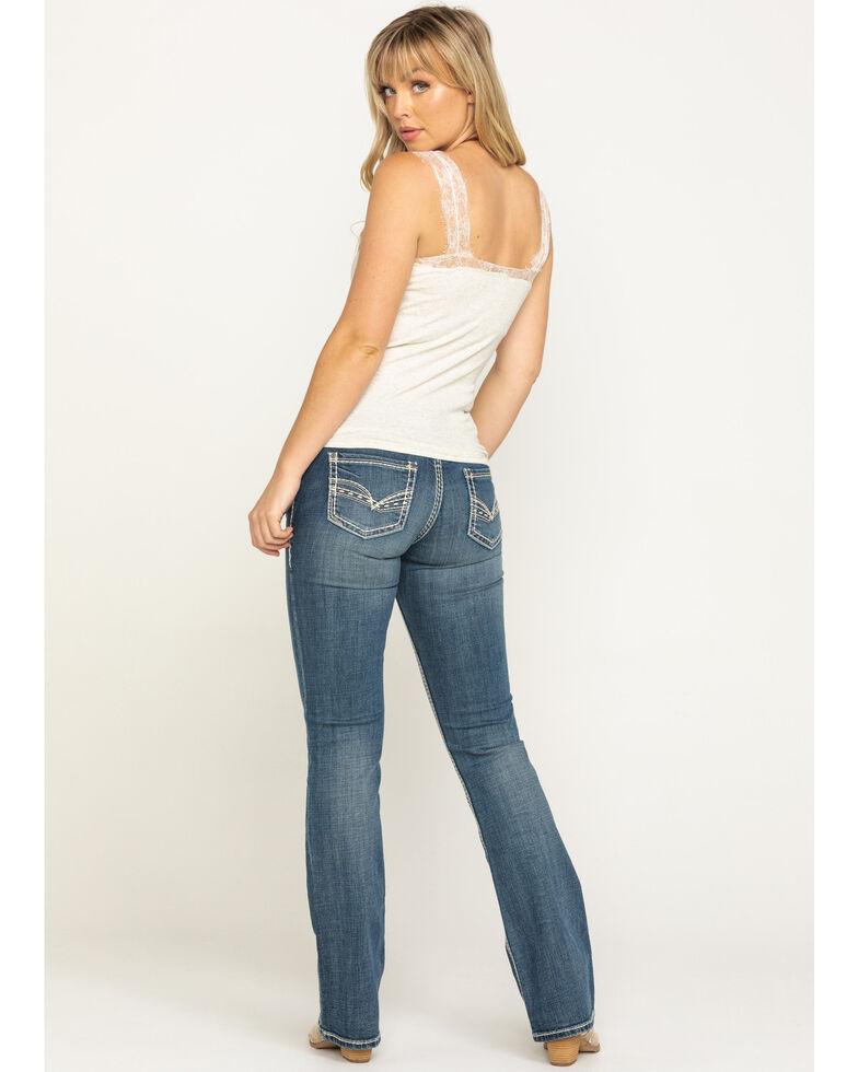 Rock & Roll Denim Women's Medium Thick Stitch Bootcut Jeans , Blue, hi-res