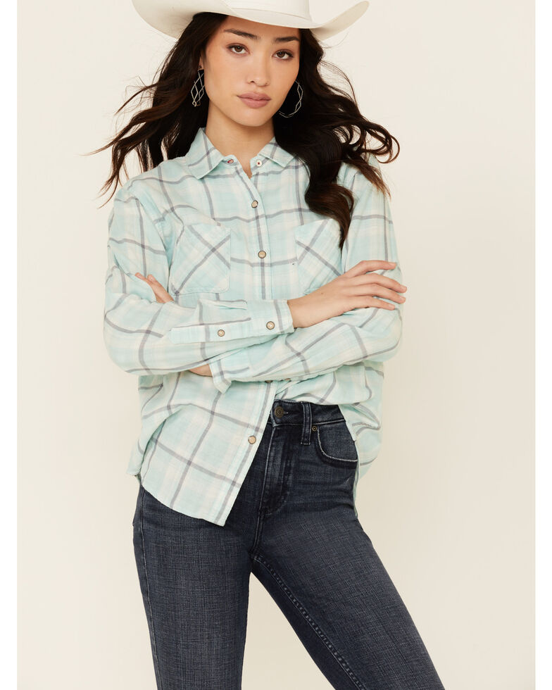 Flag & Anthem Women's Abell Mint Plaid Long Sleeve Snap Western Core Shirt , Teal, hi-res