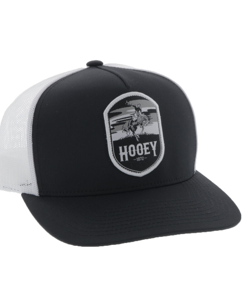 Hooey Men's Black Cheyenne Shield Patch Mesh Ball Cap, Black, hi-res