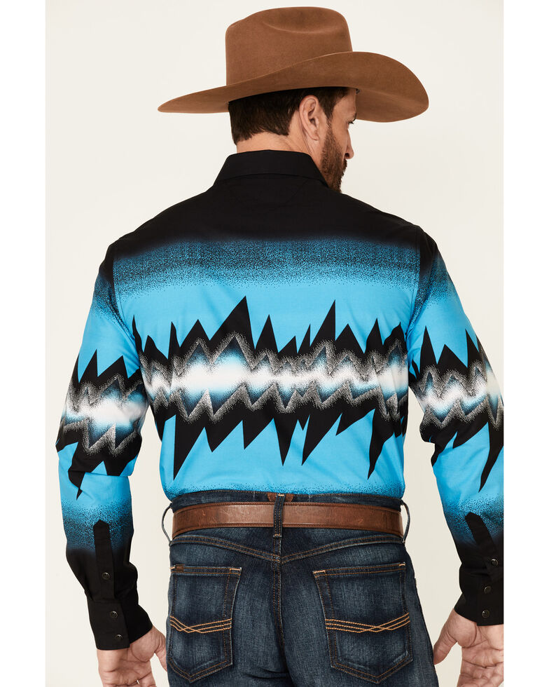 Dale Brisby Men's Turquoise Thunder Border Print Long Sleeve Snap, Turquoise, hi-res