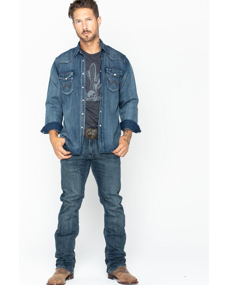Wrangler Men's Slub Denim Long Sleeve Work Shirt, Antique Blue, hi-res