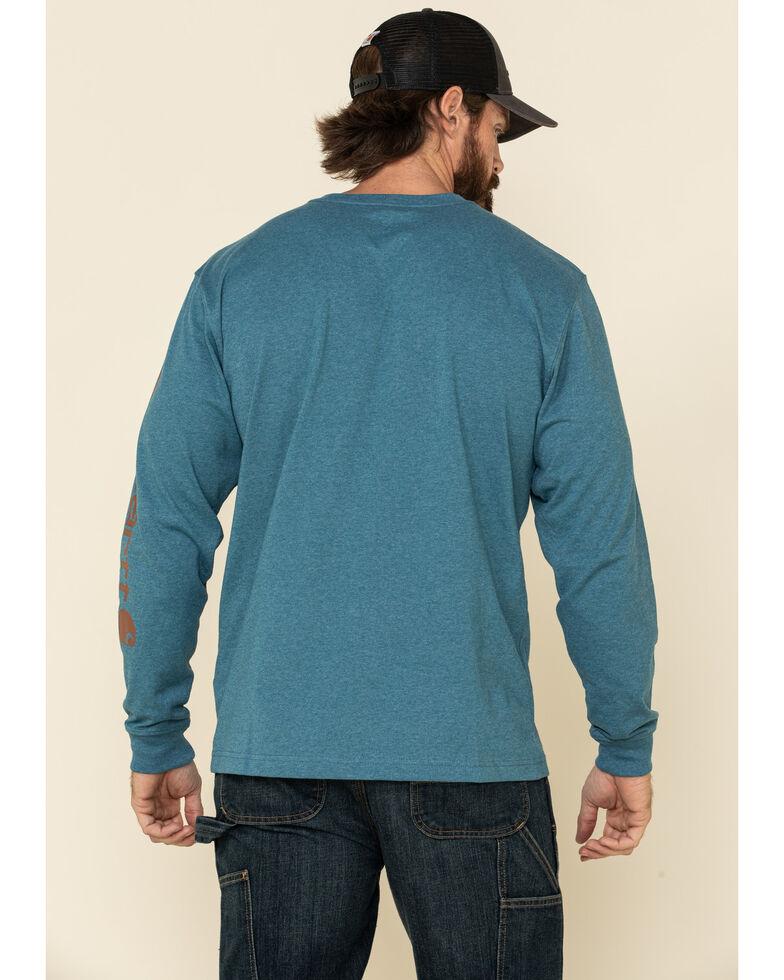 Carhartt Men's Ocean Blue Heather Signature Sleeve Logo Long Sleeve Work T-Shirt - Big , Blue, hi-res