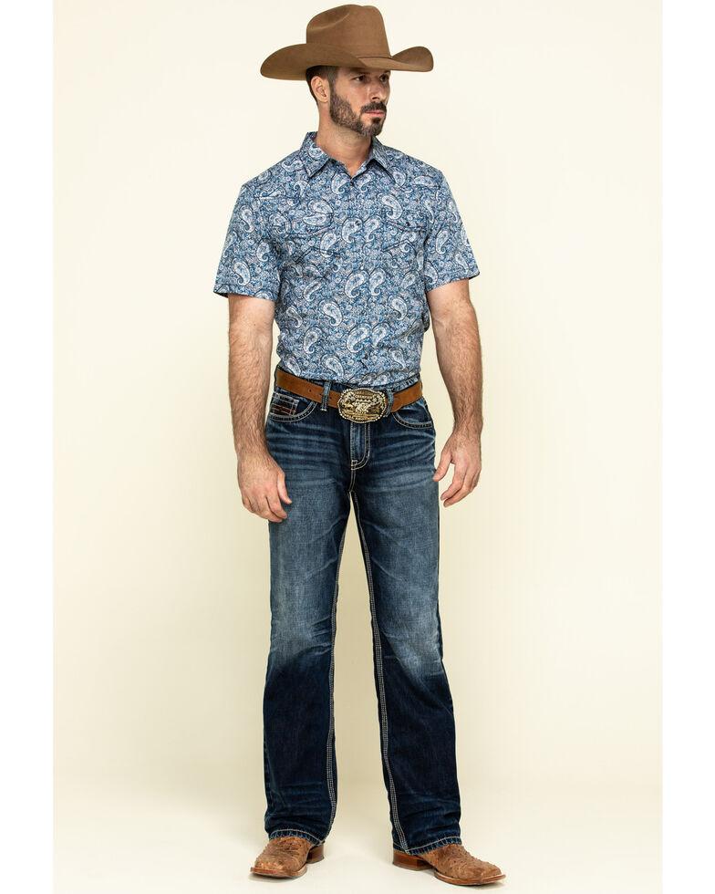 Cody James Men's Paisley Lake Short Sleeve Western Shirt , Blue, hi-res