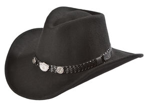 Jack Daniels Men's Hondo Crease Crushable Wool Felt Hat , Black, hi-res