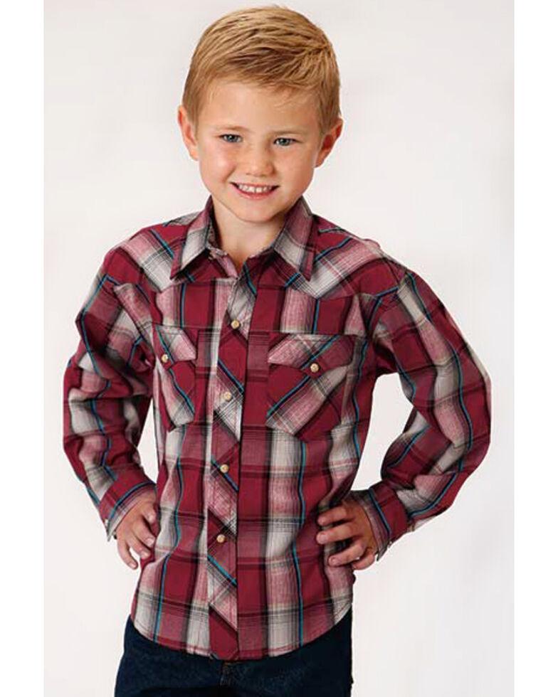 Roper Boys' West Made Empire Plaid Long Sleeve Western Shirt , Red, hi-res
