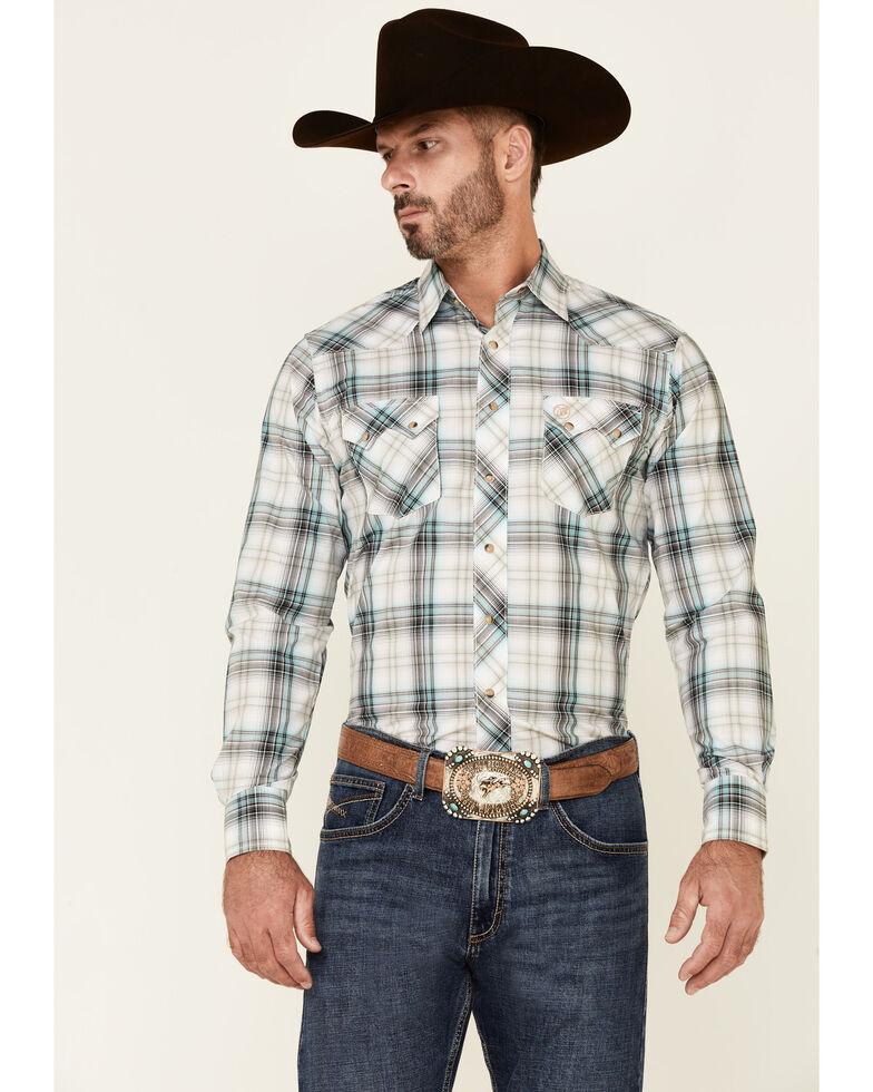 Wrangler Retro Men's Aqua Plaid Long Sleeve Snap Western Shirt , Aqua, hi-res