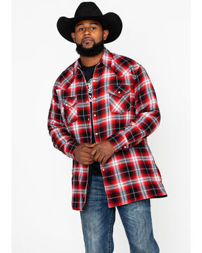 Ely Cattleman Men's Quilted Flannel Long Sleeve Western Shirt - Tall, Red, hi-res