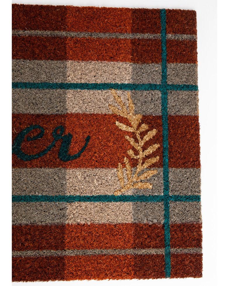 BB Ranch Gather Plaid Doormat, Orange, hi-res