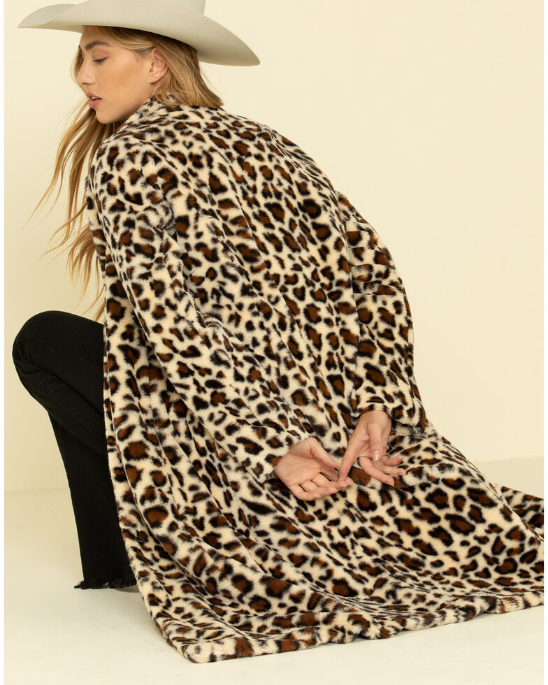 Cripple Creek Women's Leopard Faux Fur Long Coat, Leopard, hi-res