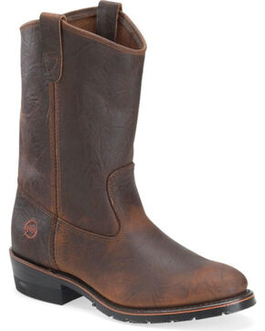 Double-H Men's AG7 Ranch Wellington Boots - Round Toe , Brown, hi-res