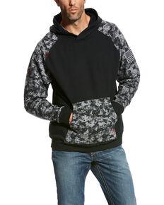 Ariat Men's Black Digi FR Patriot Work Hooded Sweatshirt - Big , Black, hi-res