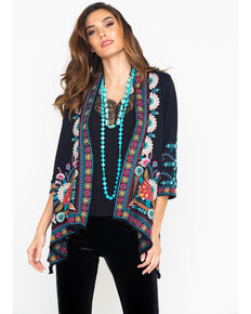 Johnny Was Women's Delphine Knit Draped Cardigan , Black, hi-res