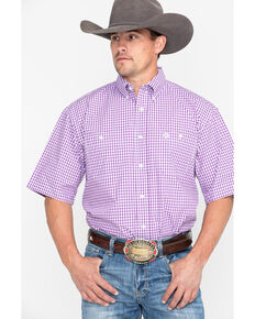 31dd79ed72 George Strait by Wrangler Men s Purple Plaid Short Sleeve Western Shirt