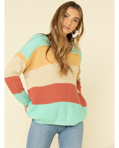 Rock & Roll Denim Women's Pastel Color Block Lace Up Back Sweater  , Turquoise, hi-res