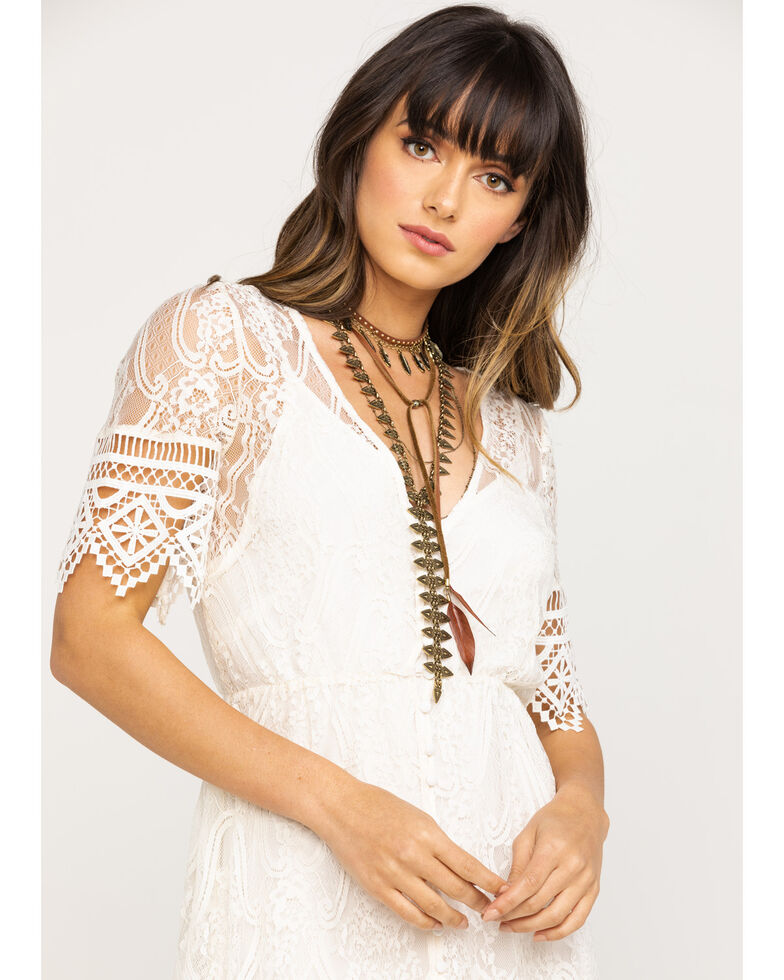 Shyanne Women's Ivory Lace Button Down Hi-Lo Maxi Dress, Ivory, hi-res