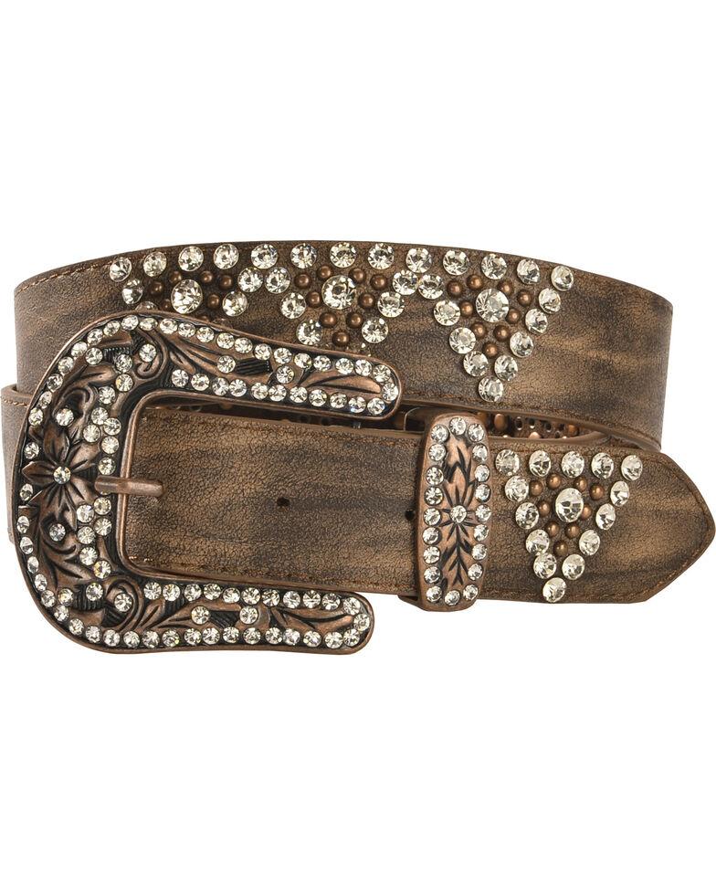 Shyanne Women's Bling Belt, Brown, hi-res