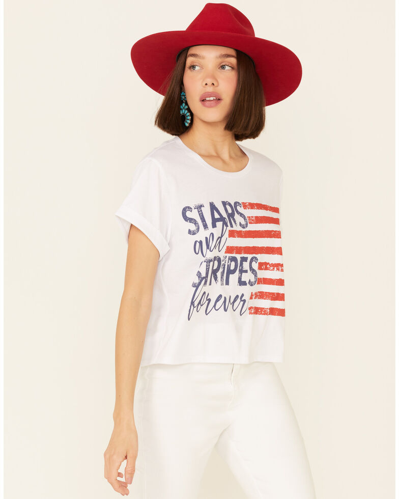 Cut & Paste Women's Stars & Stripes Forever Graphic Crop Tee , Ivory, hi-res