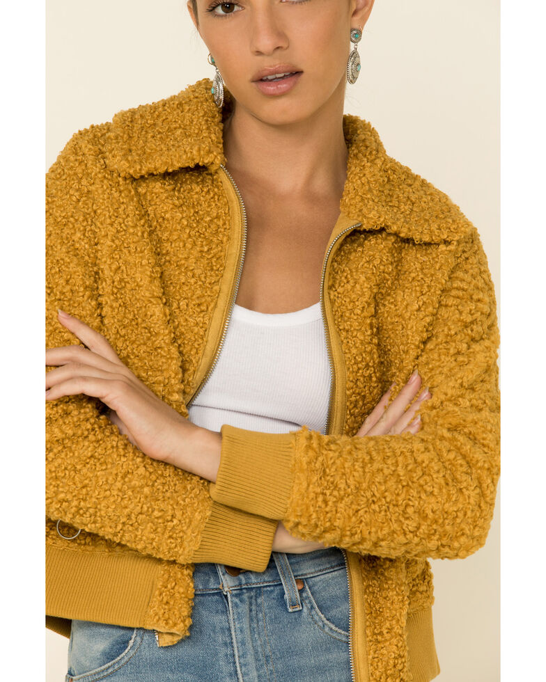 Angie Women's Mustard Zip Front Sherpa Lined Jacket , Mustard, hi-res