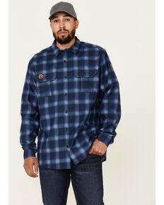 Hawx Men's FR Navy Plaid Long Sleeve Button-Down Work Shirt, Navy, hi-res