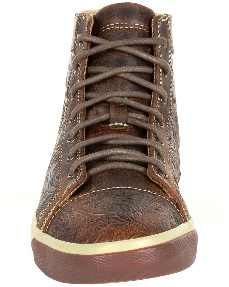 Durango Women's Western Embossed High-Top Sneakers - Round Toe, Dark Brown, hi-res