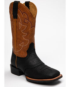 Cody James Men's Justified Western Boots - Square Toe, Black/tan, hi-res