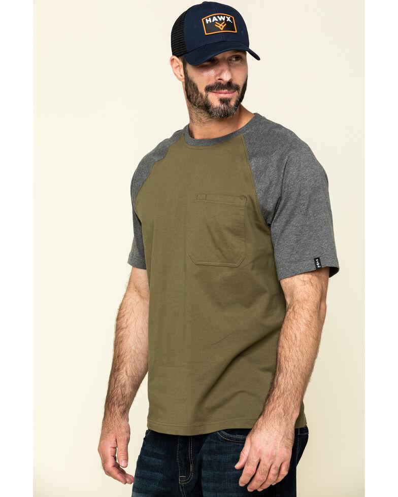 Hawx Men's Olive Midland Short Sleeve Baseball Work T-Shirt , Olive, hi-res