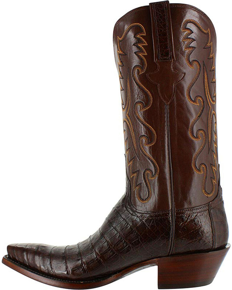 Lucchese Men's Exotic Sienna Caiman Western Boots - Snip Toe, Brown, hi-res