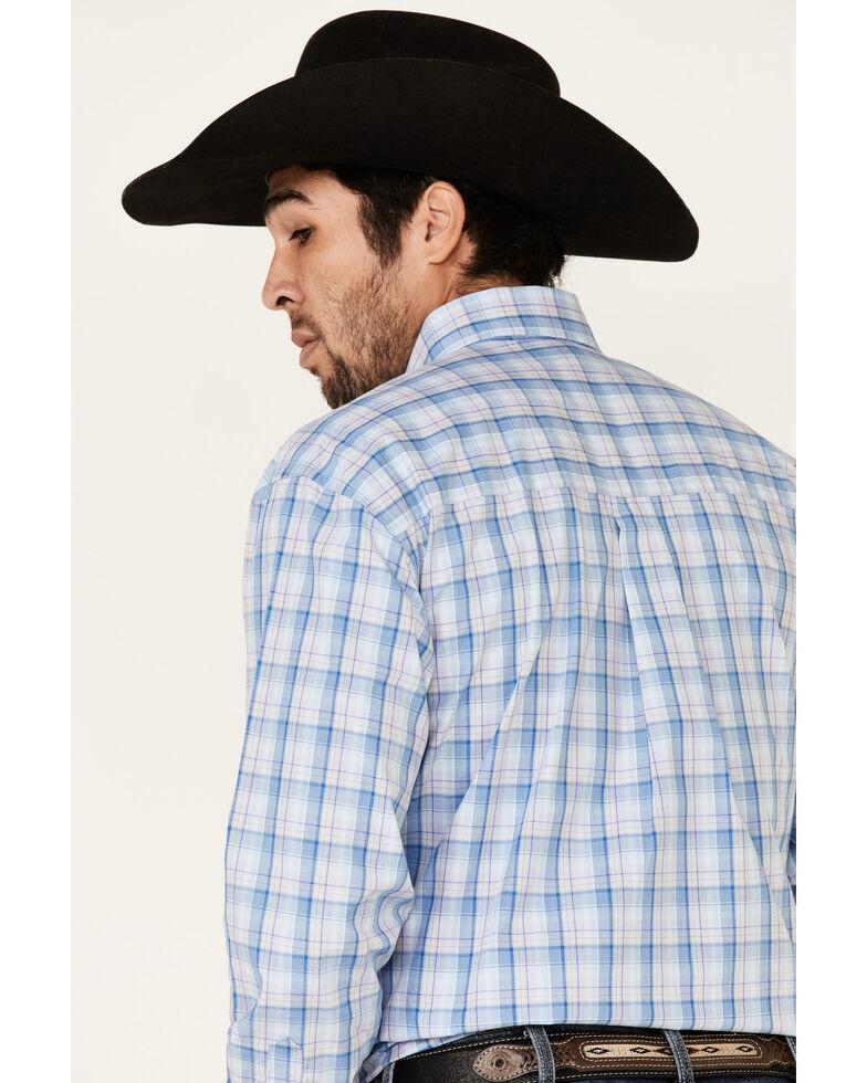 George Strait By Wrangler Men's Blue Large Plaid Long Sleeve Western Shirt , Blue, hi-res