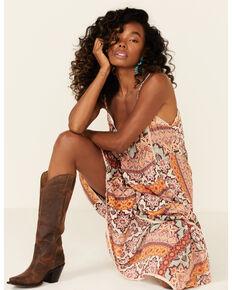 Angie Women's Tan Aztec Maxi Dress, Orange, hi-res