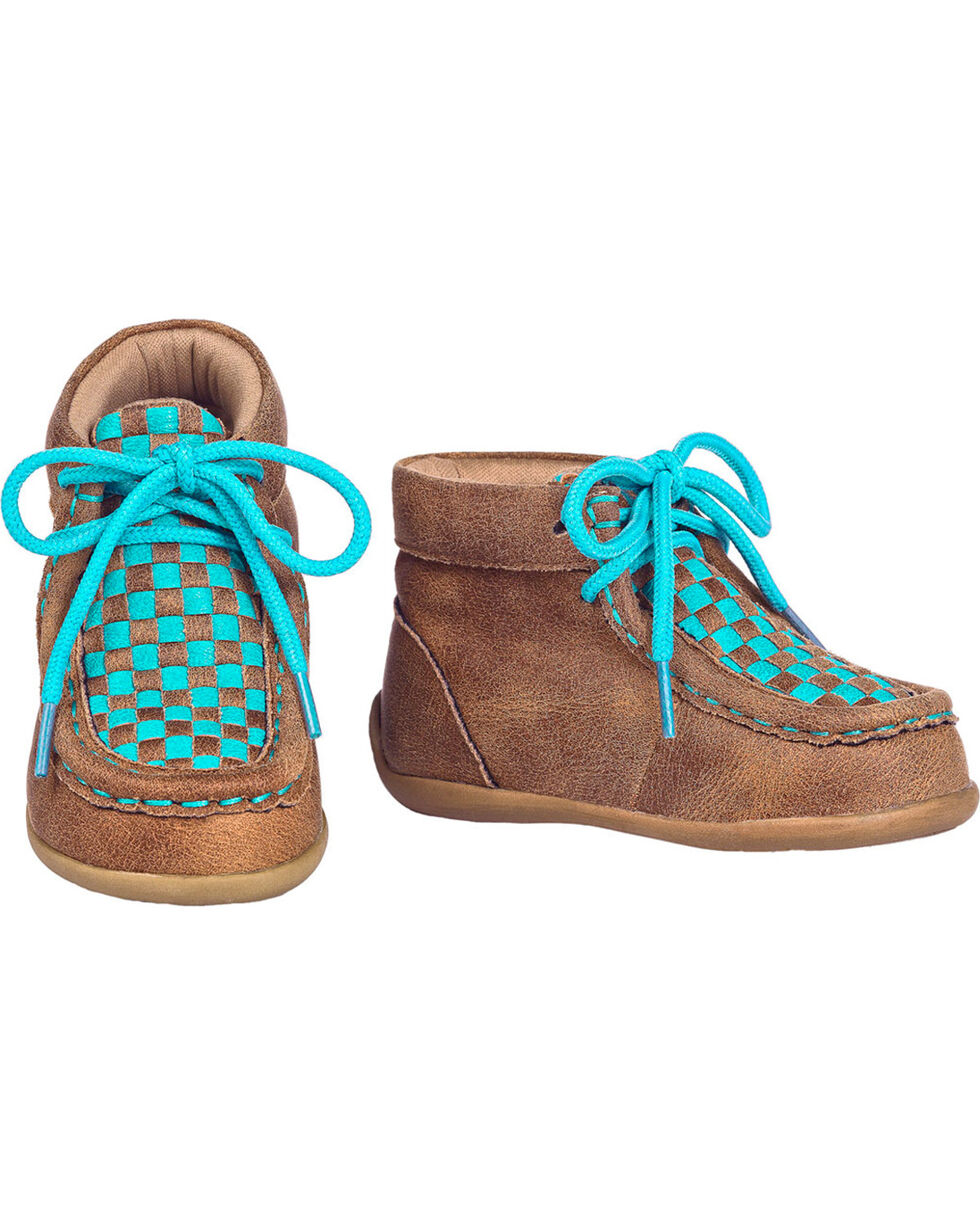 Blazin Roxx Toddler Girls' Cassidy Turquoise Casual Shoes - Moc Toe, Brown, hi-res