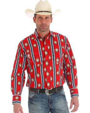 Wrangler Men's Checotah Red Stripe Long Sleeve Snap Shirt, Red, hi-res
