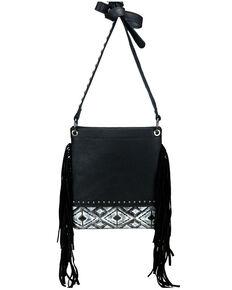 Montana West Women's Embossed Aztec Crossbody Bag, Black, hi-res