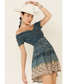 Angie Women's Smocked Border Print Dress, Teal, hi-res