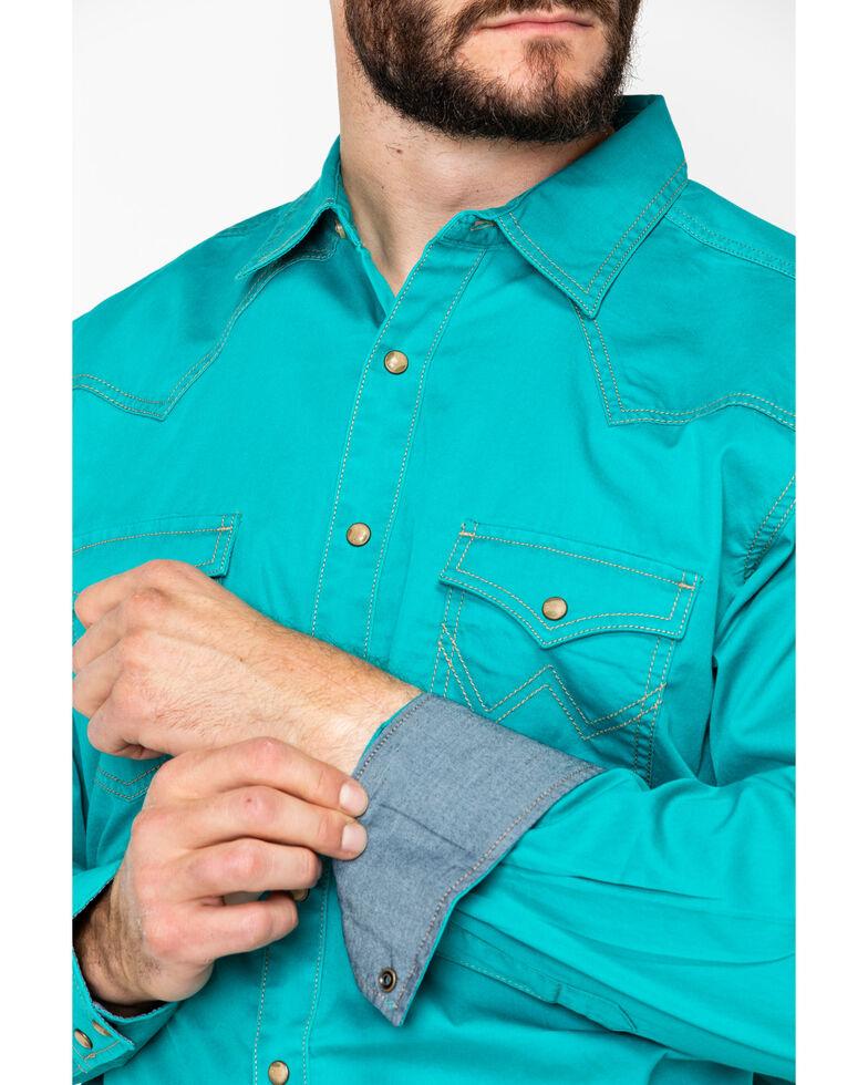 Wrangler Retro Men's Teal Solid Premium Long Sleeve Western Shirt , Teal, hi-res