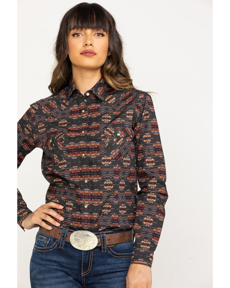 Rough Stock by Panhandle Women's Agulia Vintage Aztec Long Sleeve Western Shirt, Charcoal, hi-res