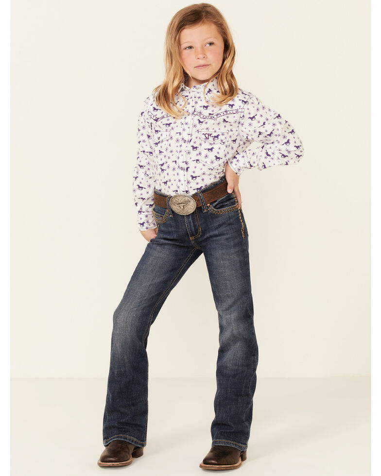 Cowgirl Hardware Girls' Horse Floral Print Long Sleeve Snap Western Shirt , Purple, hi-res