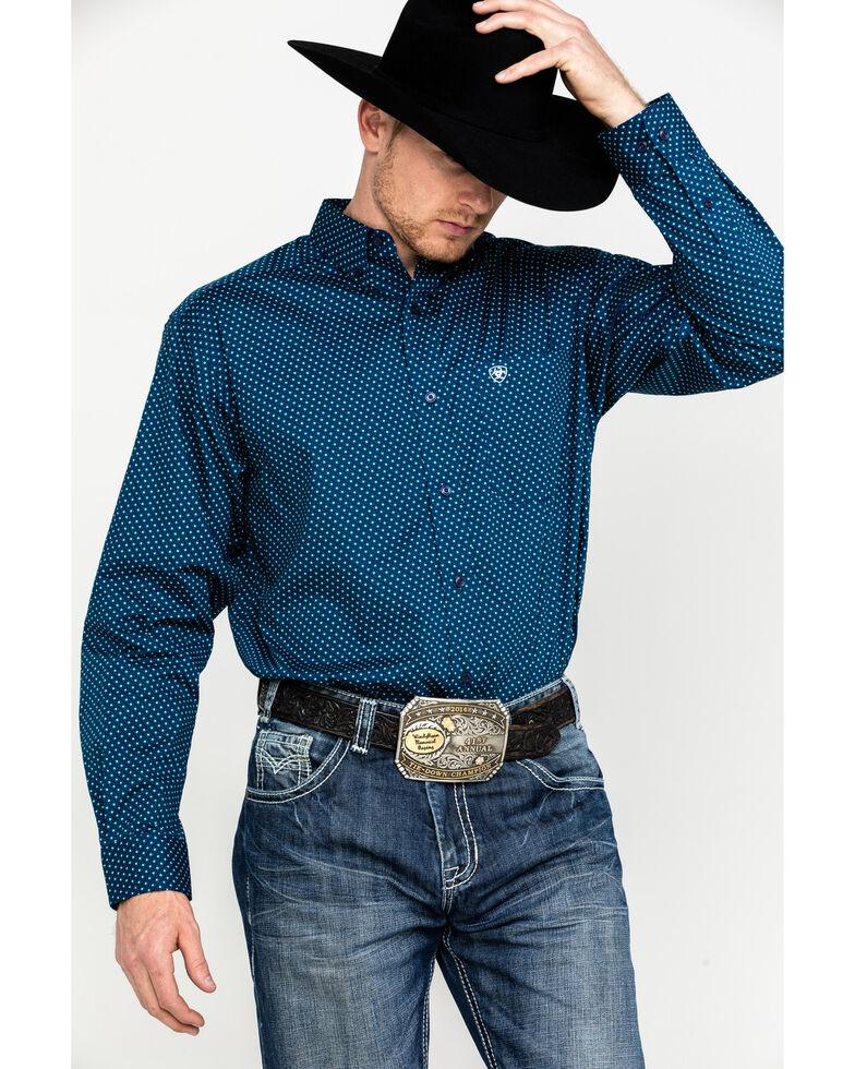 Ariat Men's Rosano Stretch Geo Print Long Sleeve Western Shirt - Big, Blue, hi-res