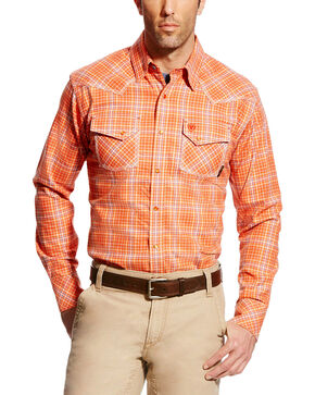 Ariat Men's FR Grant Retro Long Sleeve Plaid Work Shirt, Red, hi-res
