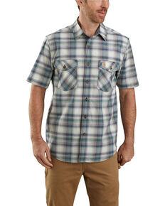 Carhartt Men's Green Rugged Flex Bozeman Plaid Short Sleeve Work Shirt - Big , Green, hi-res