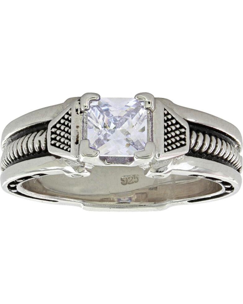 Montana Silversmiths Women's Silver Single Stone Horseshoe Nail Ring, Silver, hi-res
