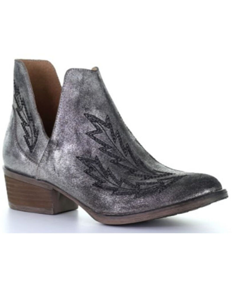 Corral Women's Silver Embroidery Fashion Booties - Round Toe, Silver, hi-res