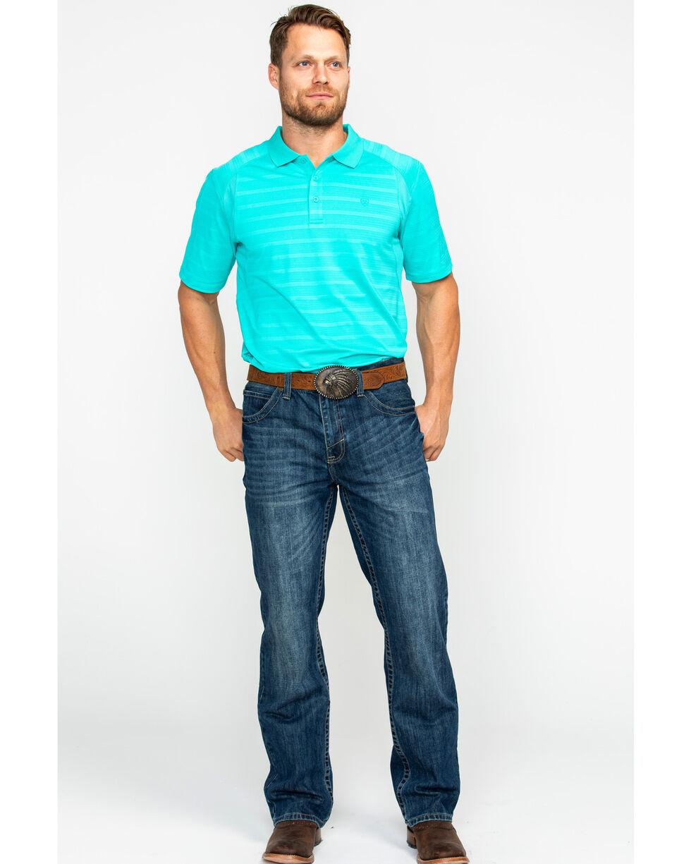 Ariat Men's TEK Ceramic Stripe Short Sleeve Polo Shirt , Beige/khaki, hi-res