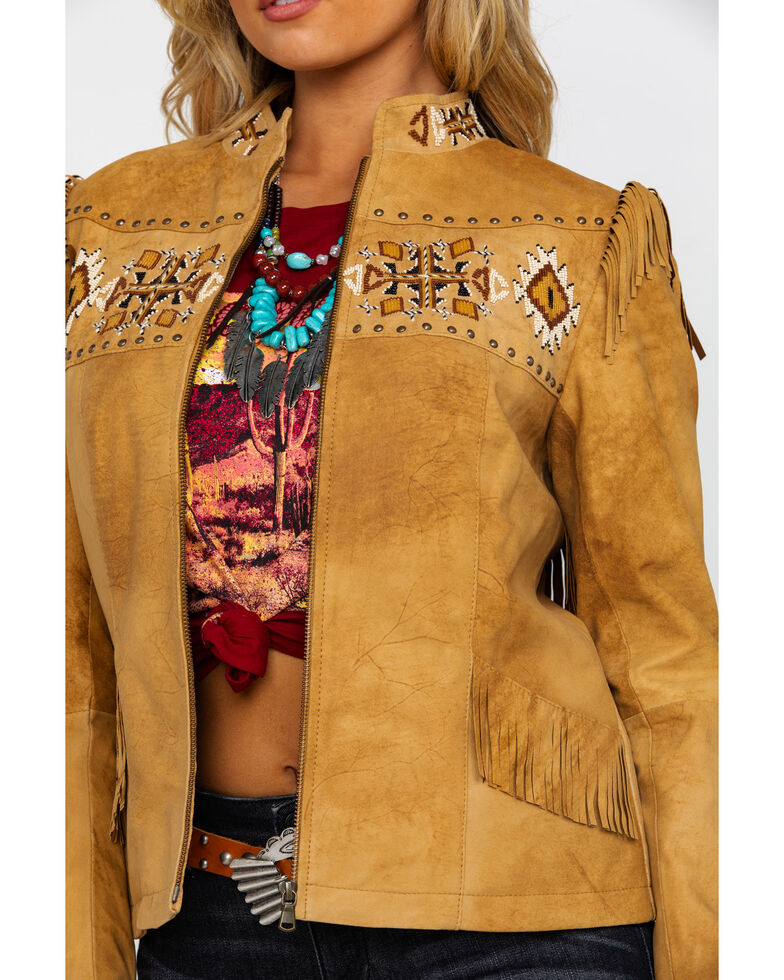 Scully Women's Aztec Buckskin Beaded Fringe Jacket , Tan, hi-res