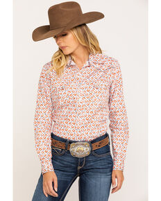 Rough Stock by Panhandle Women's Rust Ditsy Aztec Snap Long Sleeve Western Shirt, Rust Copper, hi-res